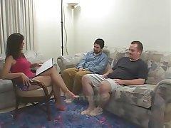 Blowjob, Cumshot, Hairy, MILF, Threesome